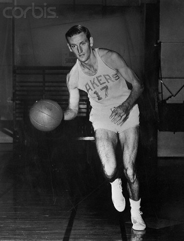 18 Jan 1951 --- Jim Pollard Dribbling a Basketball --- Image by © Bettmann/CORBIS