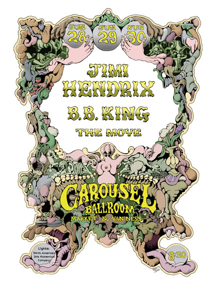 Carousel Ballroom Poster by Rick Shubb Jimi Hendrix / B.B. King / The Move