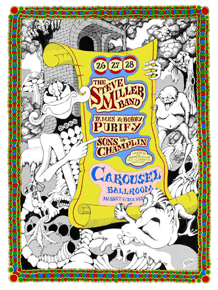 Carousel Ballroom Poster by Rick Shubb Steve Miller Band / James and Bobby Purify / Sons of Champlin