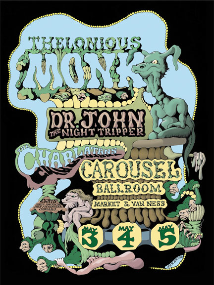 Carousel Ballroom Poster by Rick Shubb Theloniuos Monk / Dr. John the Night Tripper / The Charlatans