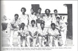 Rickey Henderson on the 1975-76 Bulldog Basketball Team, bottom row, second from right