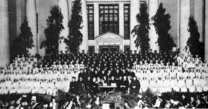 1935 A_outdoor graduation in front of Tech