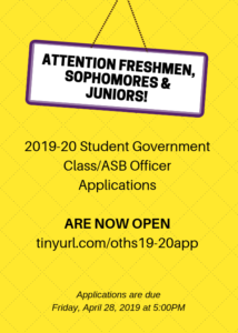 2019-20 Student Gov't Officer Election Applications Due