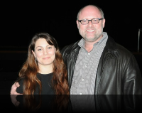 Tech's Jessa Berkner with CalShakes' Jonathan Moscone